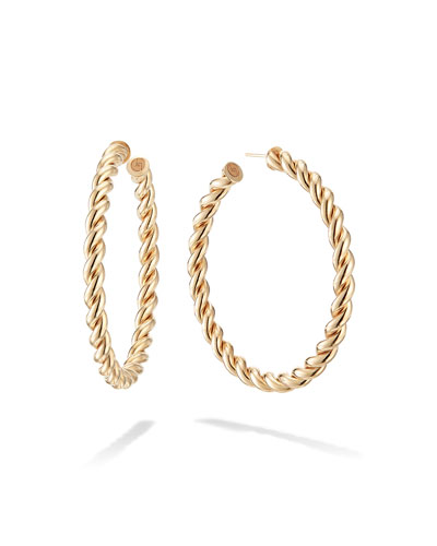 14k Thin Braid Hoop Earrings, 50mm