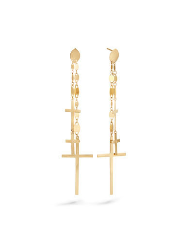 14k Multi-Cross Dangle Earrings