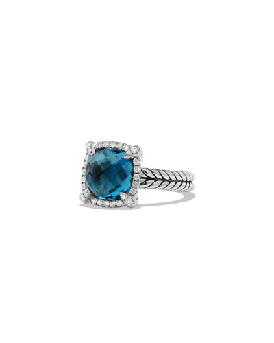 9mm Châtelaine Ring with Diamonds in Blue Topaz