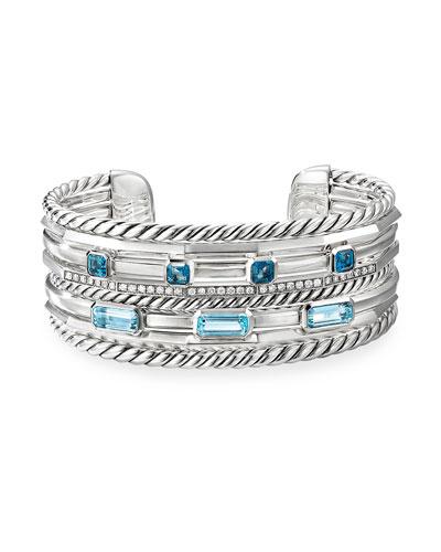 Stax Wide Diamond & Topaz Bracelet, Size Small & Medium