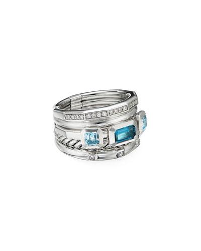 Stax Wide Blue Topaz & Diamond Ring