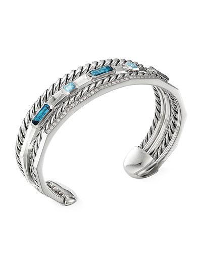 Stax Narrow Blue Topaz & Diamond Cuff Bracelet