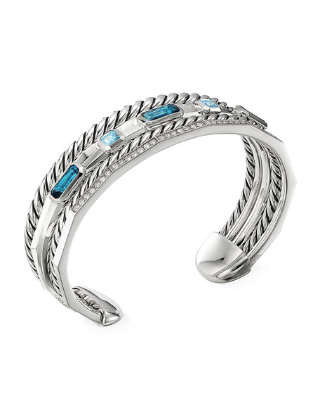 David Yurman Stax Narrow Blue Topaz & Diamond Cuff Bracelet