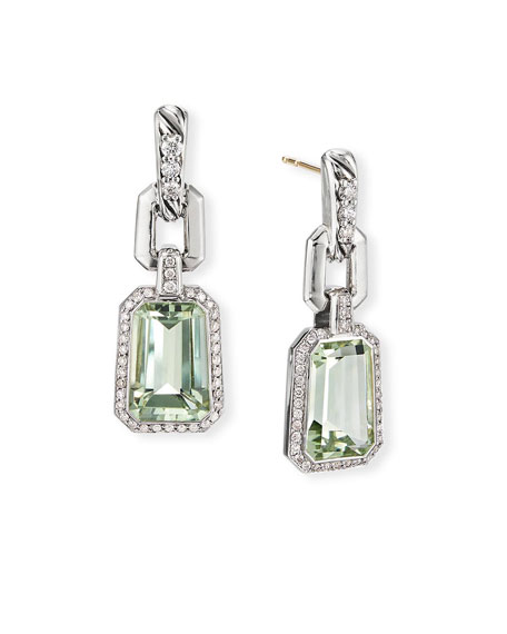 David Yurman Stax Diamond-Link & Prasiolite Drop Earrings