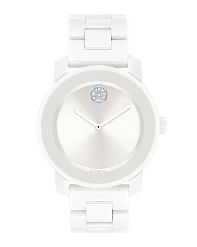 36mm BOLD Ceramic Bracelet Watch, White
