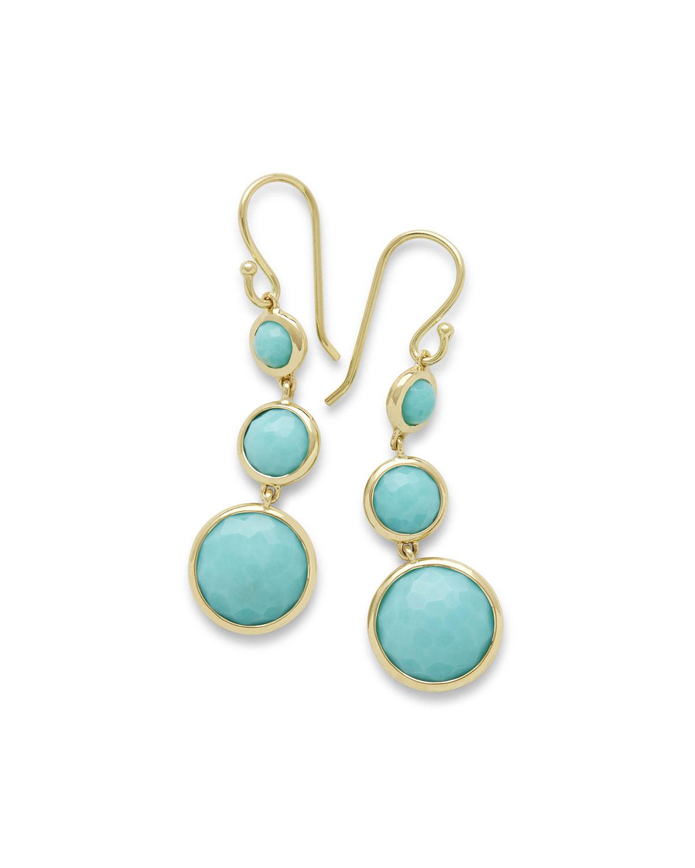 18k Lollipop® Three-Stone Drop Earrings in Turquoise