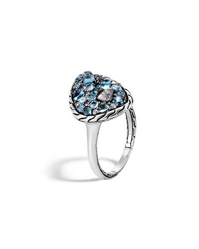 Classic Chain Blue Topaz Ring