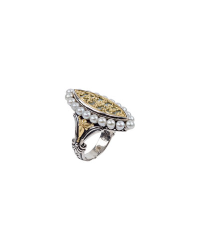 Elongated Pearl-Trim Ring, Size 6-8