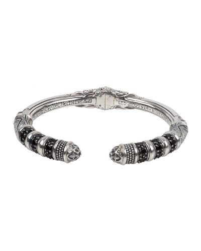 Black Spinel Hinged Thin Cuff Bracelet
