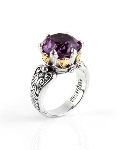 Purple Amethyst Round Ring, Size 7