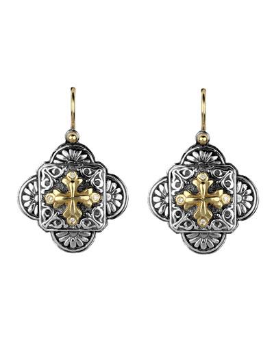 Clover Cross-Drop Earrings w/ Diamonds