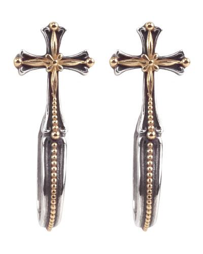Cross Hoop-Drop Earrings