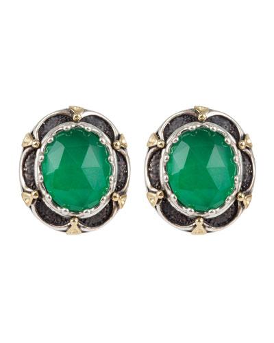 Jade Clip-On Earrings w/ 18k Gold
