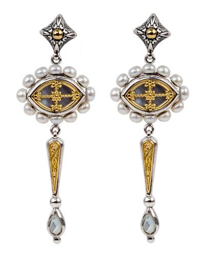 Linear Dangle & Pearl-Trim Earrings