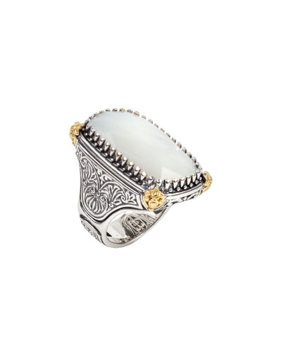Mother-of-Pearl Ring w/ 18k Gold, Size 6 & 8