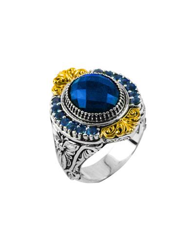 Pave London Blue Topaz Ring, Size 8