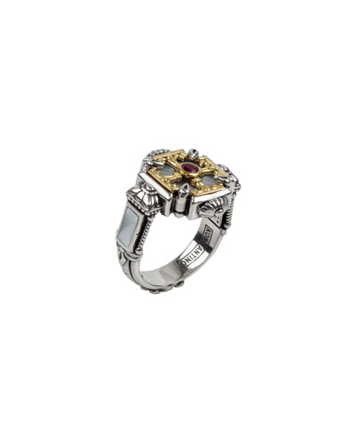 Mother-of-Pearl & Ruby Cross Ring, Size 6-8