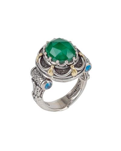 Jade Oval & London Blue Topaz Ring, Size 7