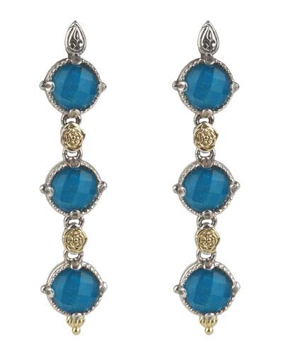 Linear Chrysocolla Doublet Drop Earrings