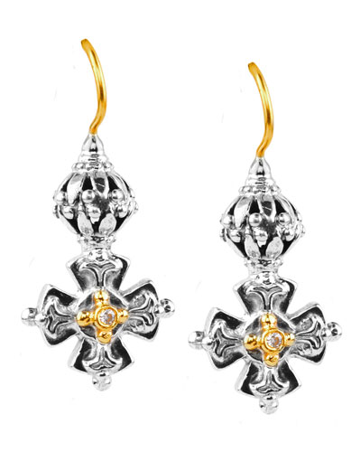 Maltese Cross Diamond-Bezel Wire Earrings