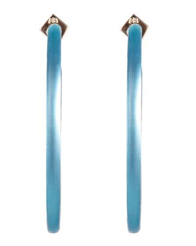 Large Skinny Hoop Earrings, Turquoise