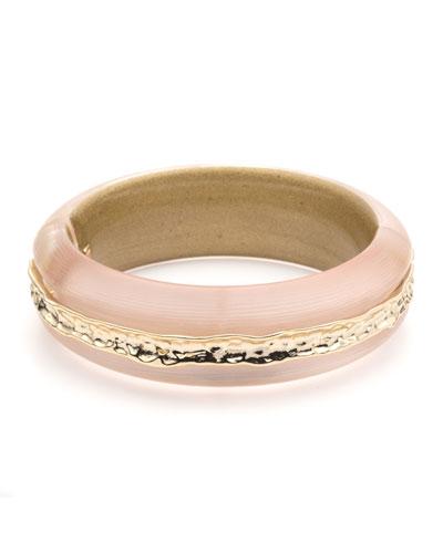 Hammered-Inlay Hinge Bracelet, Light Pink