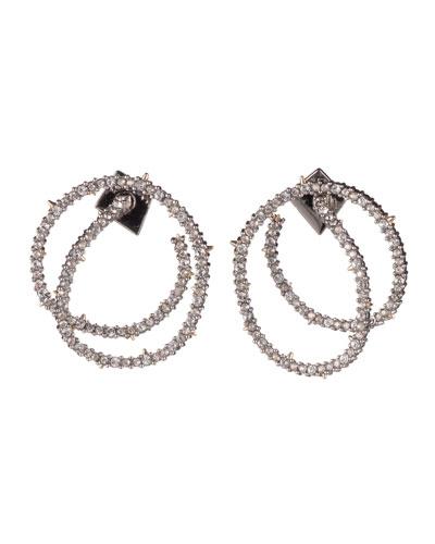 Crystal Encrusted Coil-Link Earrings