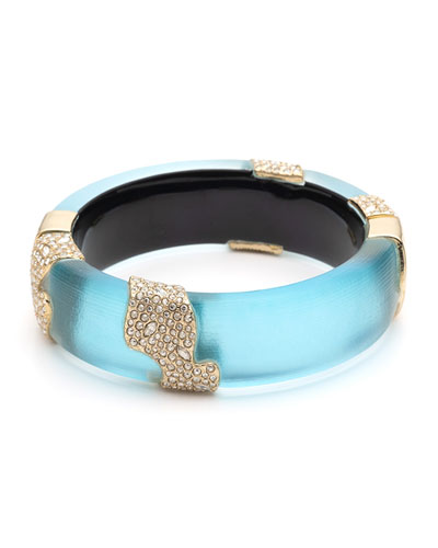 Crystal Encrusted Sectioned Hinge Bracelet, Turquoise