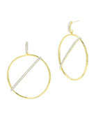 Freida Rothman Radiance Pave Bar-Front Hoop Earrings, Yellow