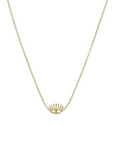 14k Gold Evil Eye w/ Eyelashes Necklace