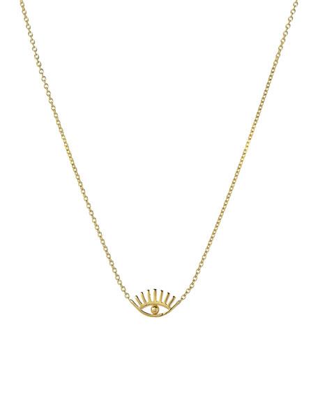 Zoe Lev Jewelry 14k Gold Evil Eye w/ Eyelashes Necklace