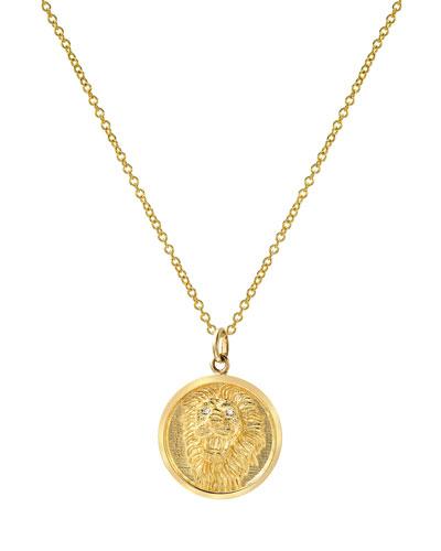 14k Diamond Lion Medallion Necklace
