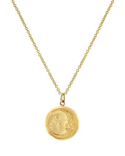 14k Diamond Moon Medallion Necklace