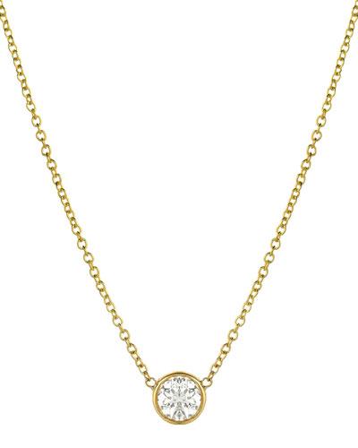 14k Large Diamond-Bezel Necklace