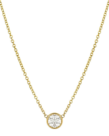 Zoe Lev Jewelry 14k Large Diamond-Bezel Necklace