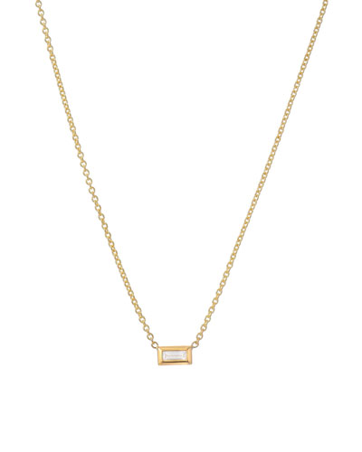 14k Diamond Baguette Necklace
