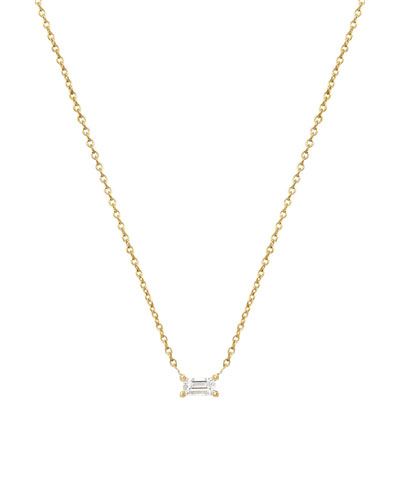 14k Diamond Baguette Prong Necklace