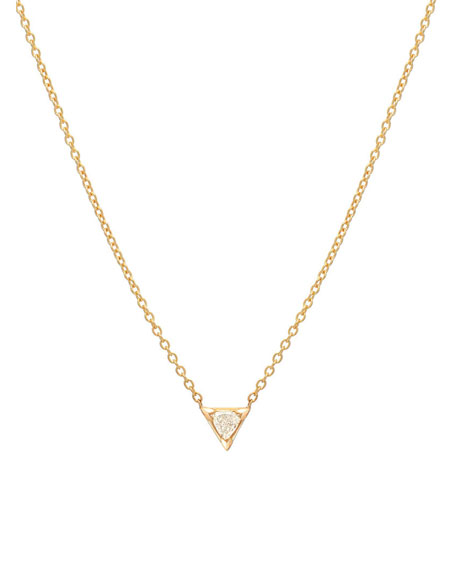 Zoe Lev Jewelry 14k Gold Diamond Trillion Necklace
