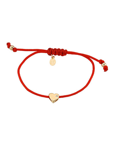 14k Gold Heart w/ Diamond Fortune Bracelet