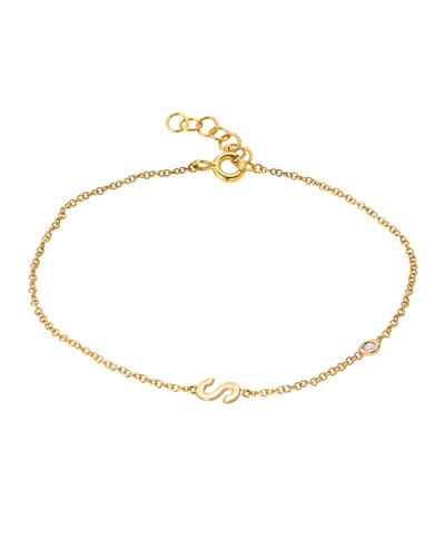 14k Gold Initial w/ Diamond Bezel Bracelet