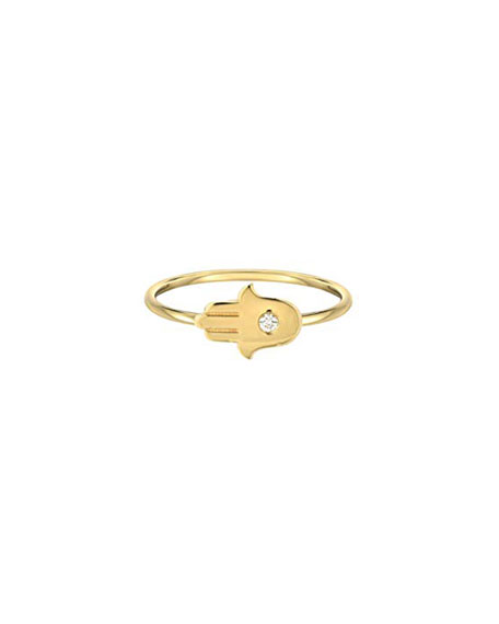 Zoe Lev Jewelry 14k Gold Diamond Hamsa Ring, Size 7