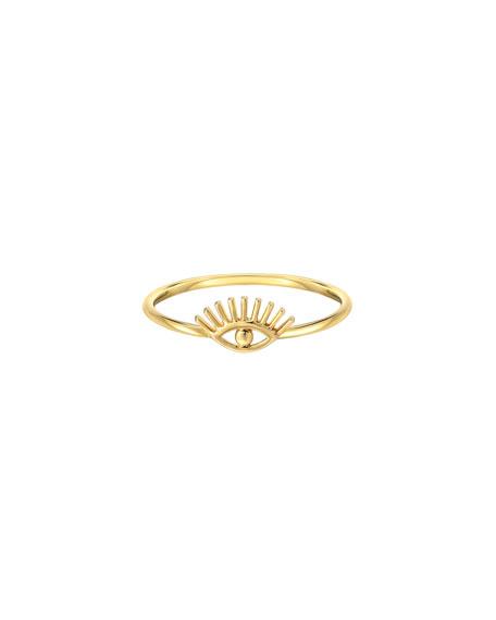 Zoe Lev Jewelry 14k Gold Evil Eye w/ Eyelashes Ring