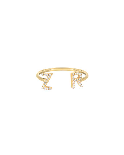Personalized 14k Gold Diamond Initial Cuff Ring