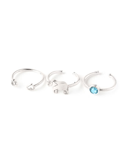 Moon & Star Rings, Set of 3, Silver
