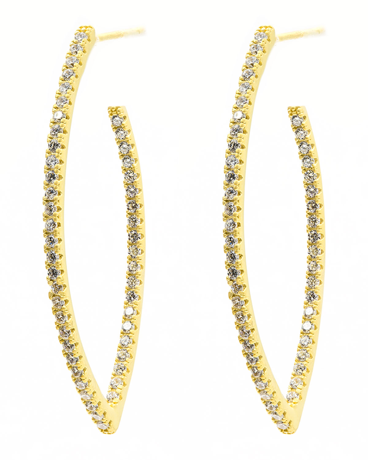 Signature Allover Pave Pointed Hoop Earrings