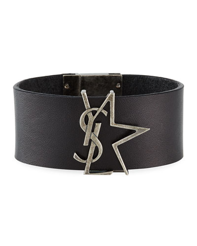 Leather YSL Monogram Star Bracelet, Black/Silver, Size M
