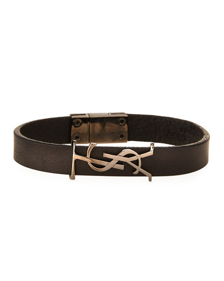 Saint Laurent Leather YSL Monogram Bracelet, Black, Size Small