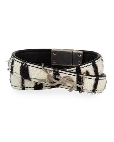 Leather Double-Wrap YSL Bracelet, Size S