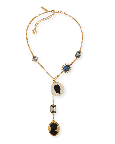 Cameo & Crystal Y-Drop Necklace