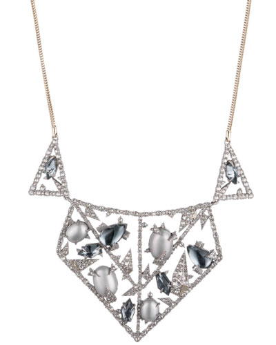 Crystal Encrusted Lace Bib Necklace